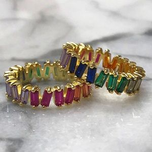 Perfectly Imperfect Colored CZ Baguette Ring, SZ 7